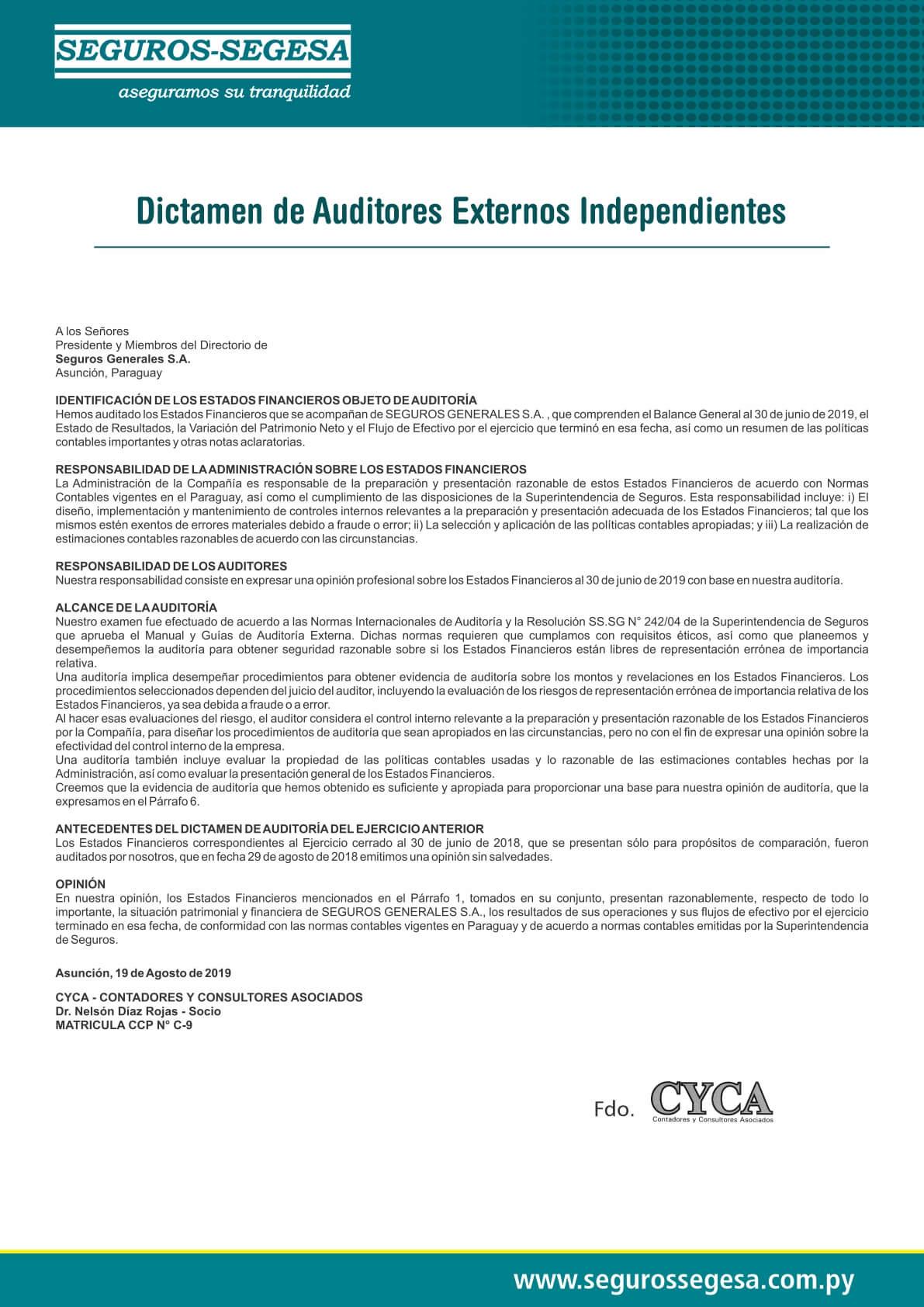 Dictamen Auditores 2019
