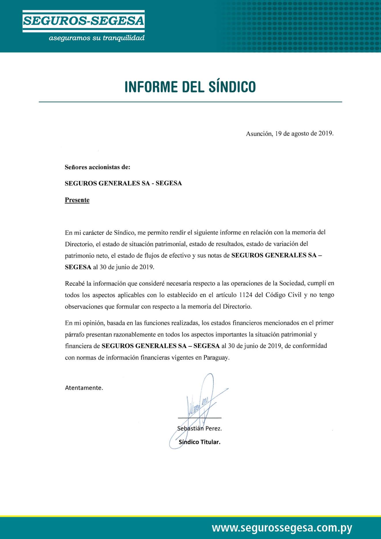 Informe Sindico 2019
